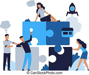 Business puzzle concept. Teamwork and partnership flat puzzle with cartoon businessman. Vector people connected in collaboration