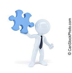 business, puzzle, isolé, piece., tenue, homme affaires, concept.