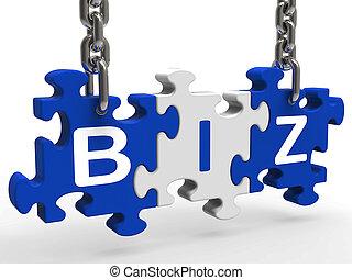 business, puzzle, ou, biz, constitué, compagnie, spectacles