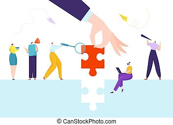 Business puzzle solution, final piece for success jigsaw concept vector illustration. People woman man character connect parts together