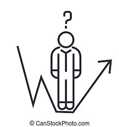 business question, businessman growth line linear icon, sign, symbol, vector on isolated background