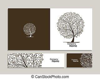 business, résumé, collection, arbre, conception, carte