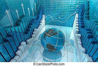 business, résumé, render, fond, 3d, marché, stockage