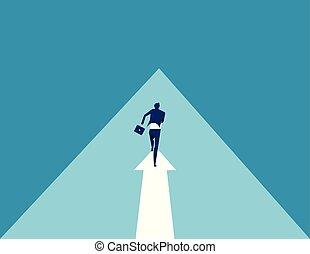 business., résumé, vector., course homme affaires, arrow., image, business