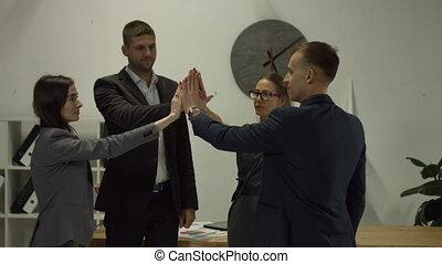 business, réussi, équipe, ensemble, mains, joindre