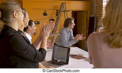 business, réussi, applaudir, applaudir, démarrage, célébrer, croissance, équipe