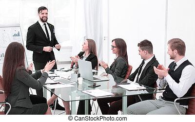 business, réussi, après, applaudit, équipe, présentation, éditorial