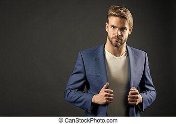 business, réussi, chic, veste, complet, homme