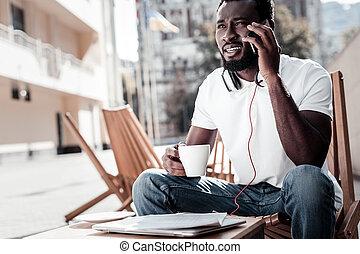business, réussi, confondu, téléphone, écoute, associé, légèrement, homme