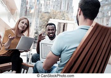 business, réussi, entrepreneurs, projet, nouveau, discuter