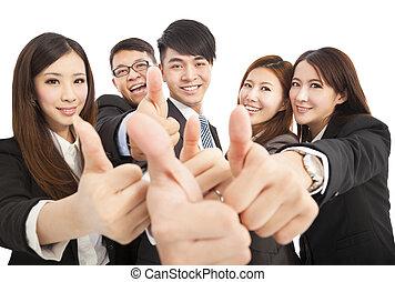 business, réussi, haut, pouces, équipe, heureux