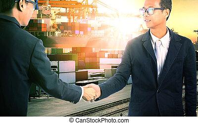 business, réussi, importation, commercial, expédition, main, jointure, commerce, entreprise, secousse, exportation, homme, corperation