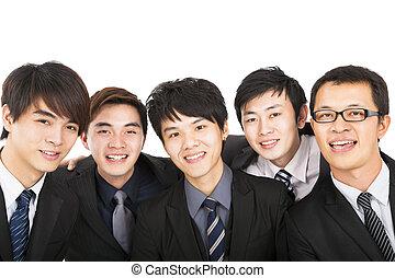 business, réussi, isolé, asiatique, équipe, blanc