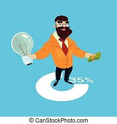 business, réussi, lumière, démarrage, idée, riche, ampoule, nouveau, prise, homme