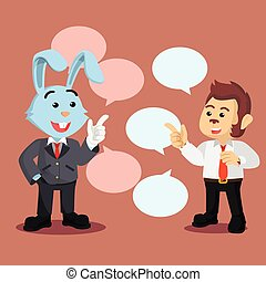 business rabbit and business monkey chatting