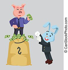 business rabbit ask for money to rich piggy bussinesman