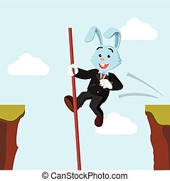 business rabbit crossing the cliff