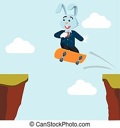 business rabbit crossing the cliff with skateboard