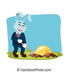 business rabbit digging bulb