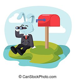 business rabbit waiting mail