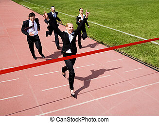 Business race - Image of business race with winner in front