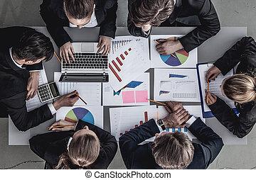 business, rapports, équipe