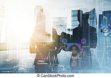 businesswomen or secretary over city background