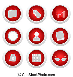 Business red button set
