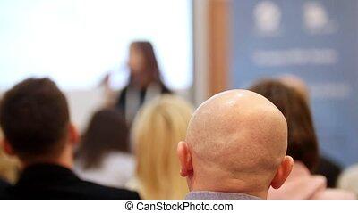 business, regarder, chaises, séance gens, conference., présentation, salle