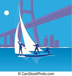 Business regatta concept vector illustration in flat style