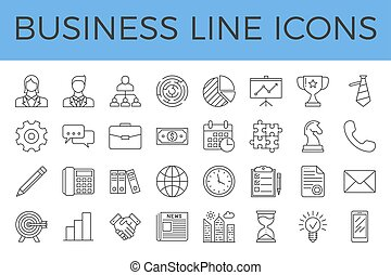 Business Related Vector Line Icons Set