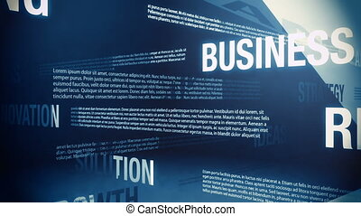 Looping animation of several business related words with filler text blurbs slowly sliding and crossing one another in an abstract but formal looking environment.