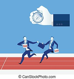Business relay race concept vector illustration
