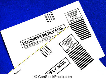 Business reply mails isolated on blue concepts of attracting...
