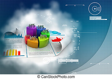 Business report and pie chart with