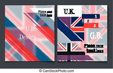 Business report brochure flyer design template vector cover presentation abstract style with British flag blue white and red colors.eps