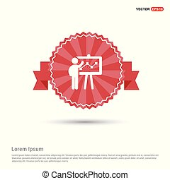Business report icon  - Red Ribbon banner