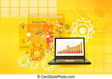 Business report in abstract background