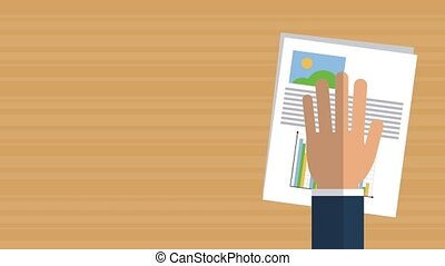 Business report on desk HD animation