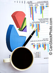 Business report with coffee cup
