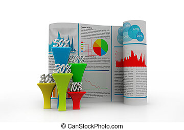 Business report with percentage graph