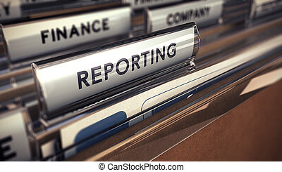 Business reporting - Close up on a file tab with the word...