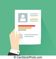 business, reprendre, feuille, main, application, papier, tenir document, cv, homme