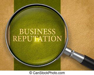 Business Reputation Concept through Magnifier.