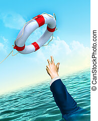 Lifesaver and businessman: helping business concept. Digital illustration.