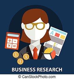 Business research flat modern design concept.