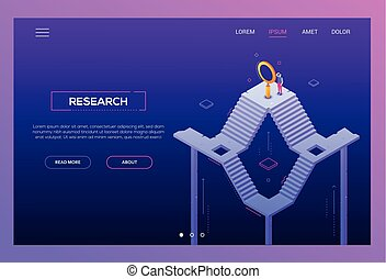 Business research - modern isometric vector website header