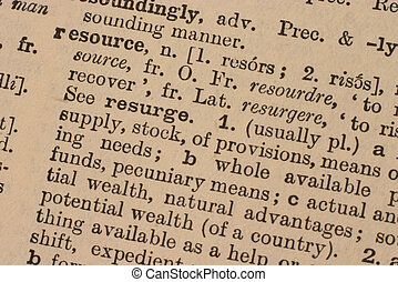 Business: resource - Part of the definition of the word...