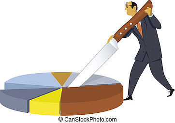 Businessman cutting a pie chart with a giant knife, vector illustration, no transparencies