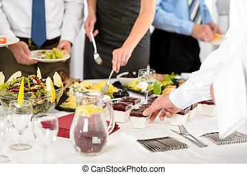 business, restauration, nourriture, pour, compagnie, célébration